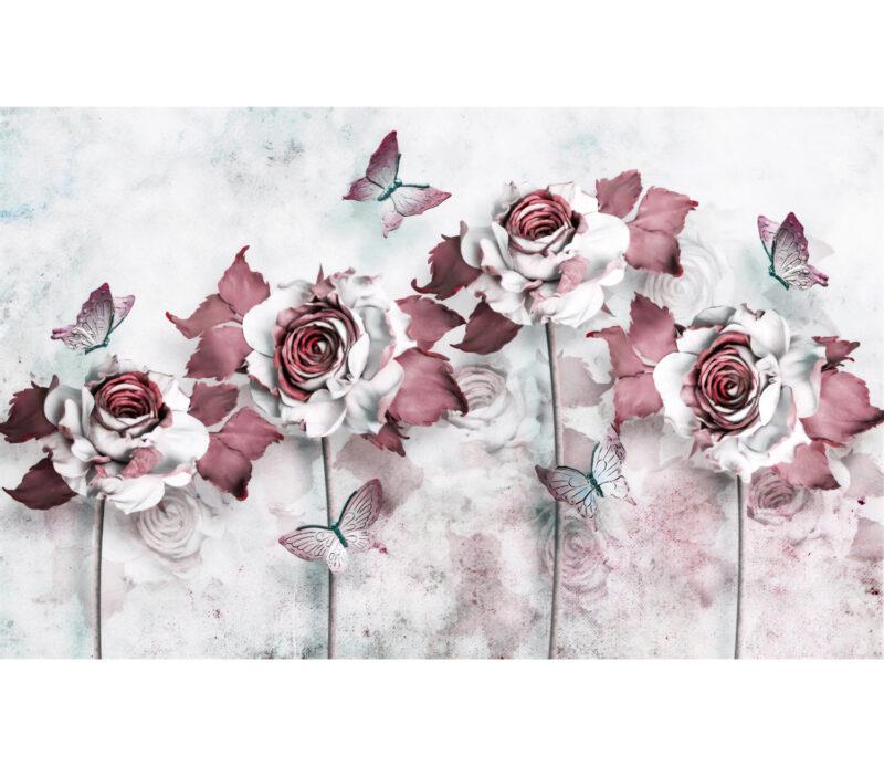 Bordo Flowers Duvar Kagidi