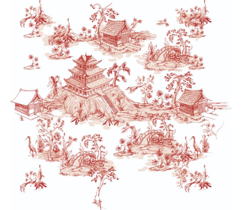 Red Landscape Duvar Kagidi