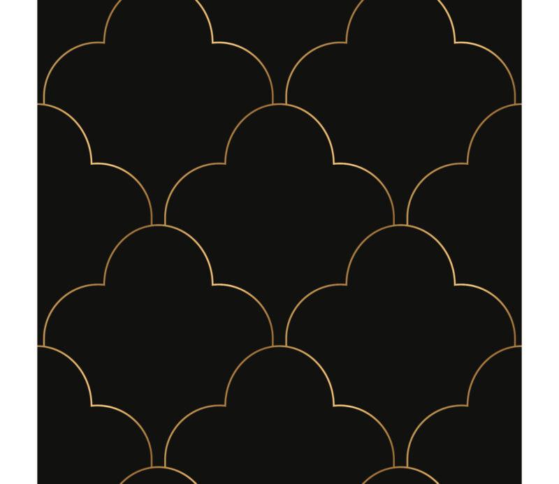 Siyah Zemin Gold Desen Duvar Kagidi